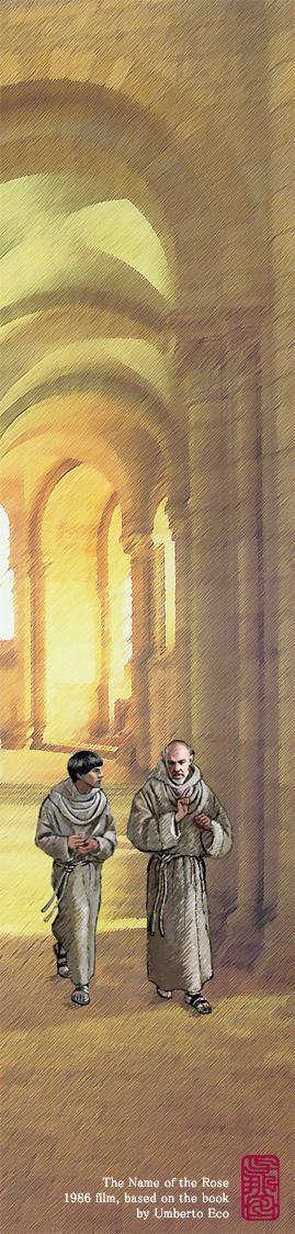 『薔薇の名前』のウィリアムとアドソのイラスト